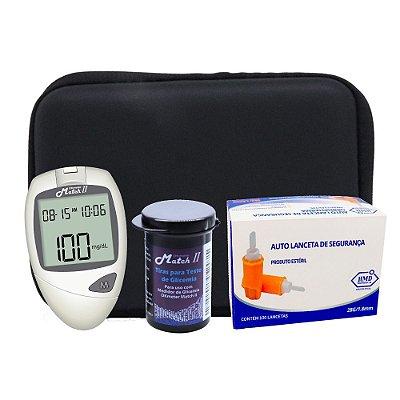 1 Medidor de Glicose + 1 Frasco Tiras Match II Ok Meter + 1 Caixa de Auto Lancetas de Segurança + Estojo porta Kit