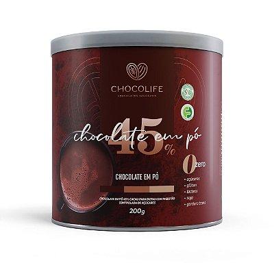 Chocolate Premium Em Pó 45% Cacau 200G - CHOCOLIFE