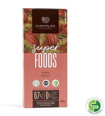 CHOCOLATE SUPERFOODS 67% CACAU PURO 80G - CHOCOLIFE