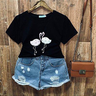 T-shirt manga curta Flamingo com Perolas Black