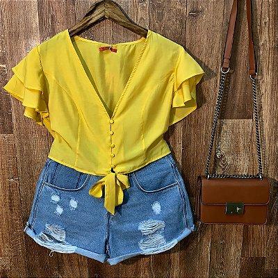 Blusa Cropped Dupla Manga de amarrar Yellow