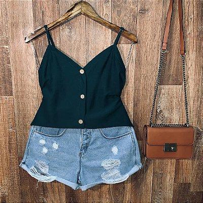 Blusa Alcinha Botão de Madeira verde