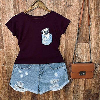 T-shirt Bolsinho com Pug