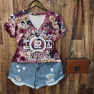 T-shirt Shocker Floral Los Angeles Rosa