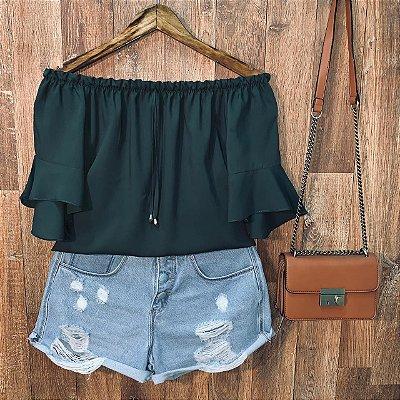 Blusa Ciganinha Manga Curta Top Verde
