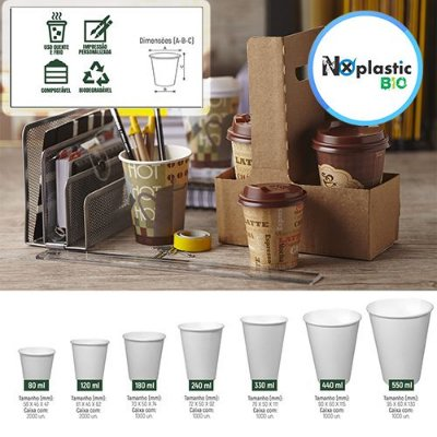 Copos de Papel Descartáveis Biodegradáveis Personalizado