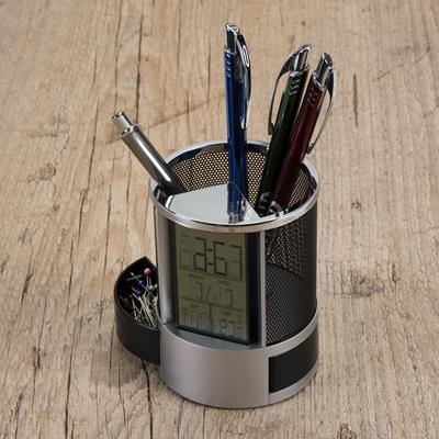 Porta Caneta com Relógio