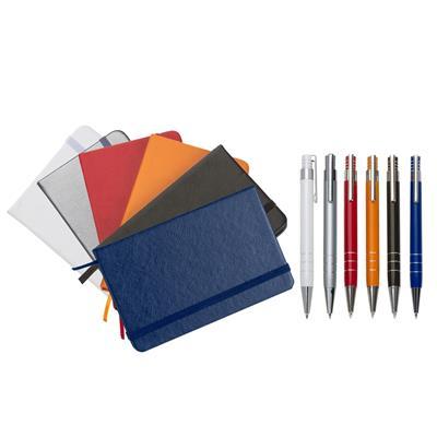 Conjunto Caneta e Caderneta tipo Moleskine