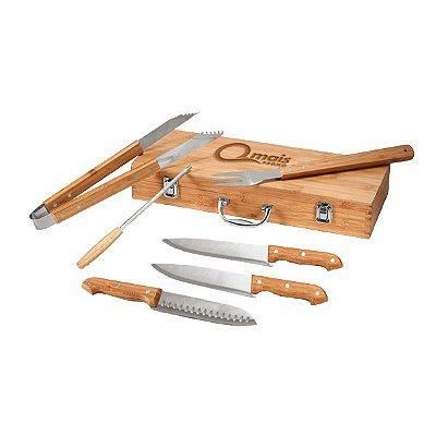 Kit churrasco 6 pçs em Aço inox e bambu com estojo Personalizado