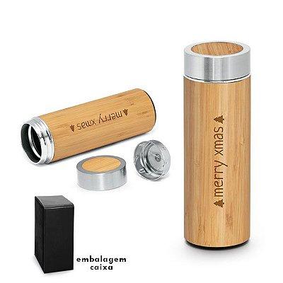 Garrafa Térmica Eco em Bambu e aço inox 430ml Personalizada