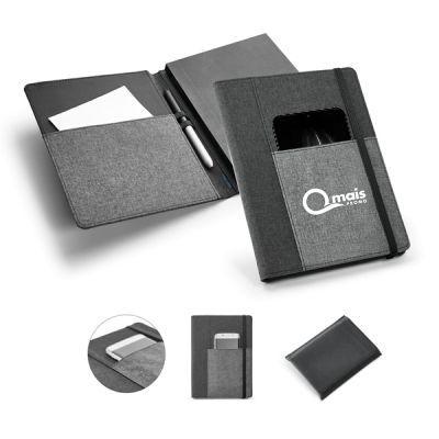 Capa com Bolso e Caderno em Tecido Poliéster A5 Personalizado