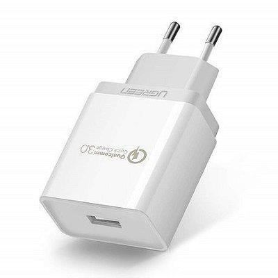 Carregador de tomada Quick Charge 3.0 (Preto/Branco)