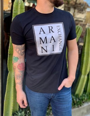 CAMISETA ARMANI EXCHANGE BLACK LETTERING PRINT
