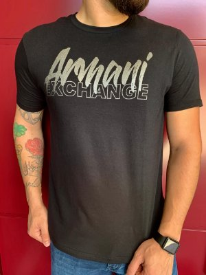 CAMISETA ARMANI EXCHANGE BLACK WITH METALLIC LETTERING