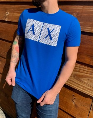 CAMISETA ARMANI EXCHANGE BLUE WITH LOGO WHITE