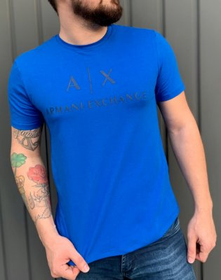 CAMISETA ARMANI EXCHANGE BLUE WITH CONTRAST LETTERING AND LOGO  BLACK
