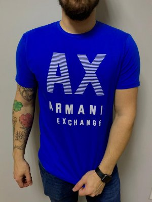 CAMISETA ARMANI EXCHANGE BLUE WITH CONTRAST LETTERING AND LOGO