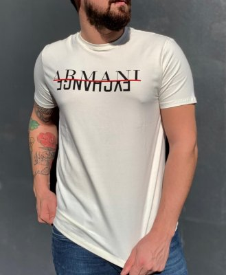 CAMISETA ARMANI EXCHANGE WHITE WITH LETTERING