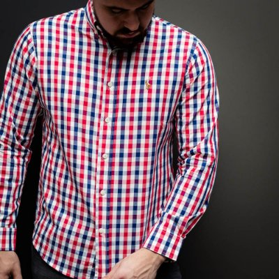 CAMISA RALPH LAUREN QUADRICULADO VICHY  BLUE AND RED
