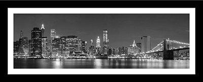 Quadro Strass Cristais Swarovski Ponte NY Manhattan Preto e Branco