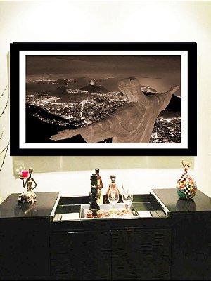 Quadro Strass Cristais Swarovski Rio de Janeiro Cristo Redentor Sépia