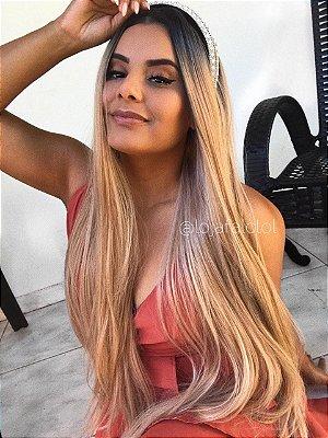 Semi lace front wig Mirella 70cm loiro mechado