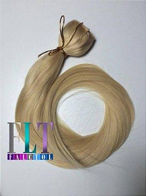 Aplique tic tac cabelo 100% humano  loiro claríssimo descolorido- 60cm  - 120gramas -Pronta entrega