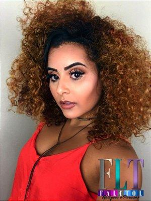 Peruca Lace Front wig  Cacheada  DREAW CUT  -  Chocolate com luzes - PRONTA ENTREGA