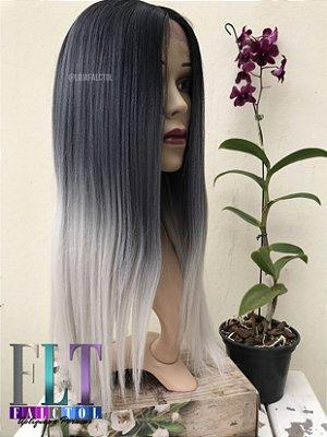 Lace Front mlf99 yani  - Preto com ombrê hair platinado - ENCOMENDA