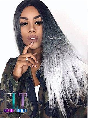 Peruca Lace Front wig platinada lisa mlf99 50cm - ENCOMENDA