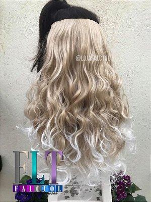 Aplique de tic tac cabelo sintético-  Loiro claro com luzes e pontas platinadas -  3B - Encaracolado - 55cm -  110gramas