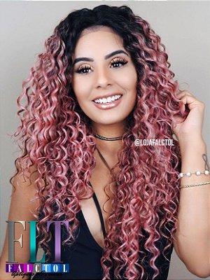 CAROLINA FALCÃO - Peruca Lace Front Cacheada cor de rosa - repicada 60cm - ENCOMENDA