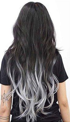 ULTIMAS PEÇAS -  Aplique tic tac Castanho Escuro com Ombre hair  Cinza - Liso - 70cm 110 gramas