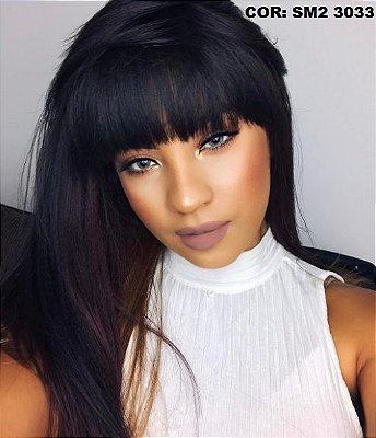 Peruca wig com franja cabelo humano com fibra futura - Varias cores  - ENCOMENDA