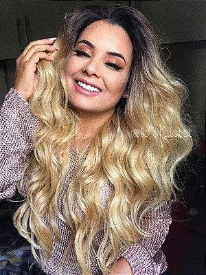EDIÇÃO LIMITADA - Peruca Lace Front wig human hair + fibra futura  - FLAWLESS - Repartição livre em U