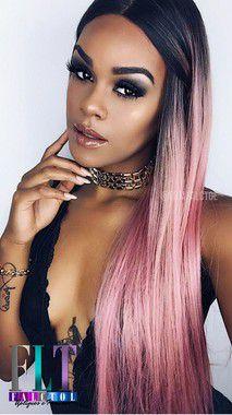 Peruca Lace front wig cor de rosa lisa EVLYN - 60cm - PRONTA ENTREGA