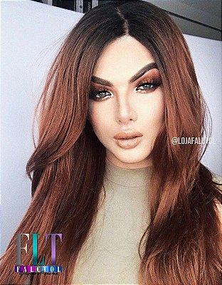Peruca Lace front wig  cabelo humano com fibra futura ruivo cacheada - ENCOMENDA