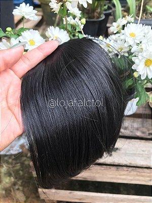Aplique tic tac cabelo  - Franja preta  1B