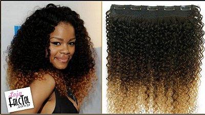 Aplique tic tac cabelo natural - Cabelo cacho fechado Ombre hair - 50cm - 1 tela