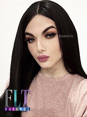 Peruca Lace front wig preto liso 80cm repartição livre - ENCOMENDA