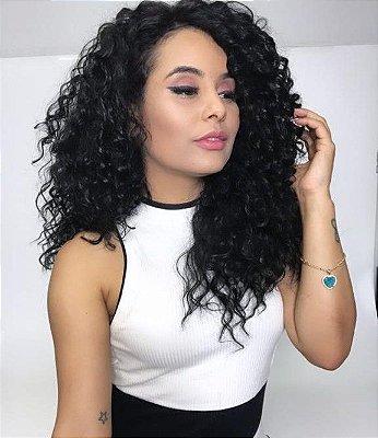 Peruca Lace Front wig cacheada - CARLA  Preto 70cm  repicada - PRONTA ENTREGA