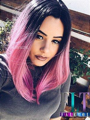 Peruca wig com repartição chanel - Ombré hair rosa - ENCOMENDA