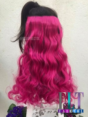 Aplique de tic tac cabelo sintetico -  Rosa  Sakura ondulado -100gramas - 60cm - Tela P