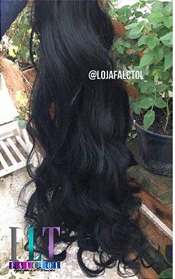 Aplique tic tac cabelo sintetico - 6 peças - PRETO - 55cm com cachos - Tela Fina