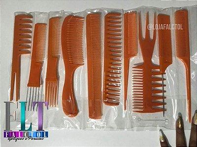 Acessórios para manutenção de apliques e perucas - Kit  com 10 pentes - cor laranja