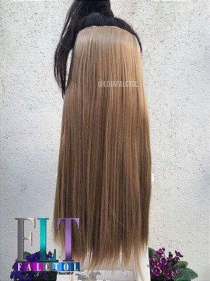 Aplique de tic tac cabelo sintetico -   Loiro dourado-  Liso - 60cm- 100gramas