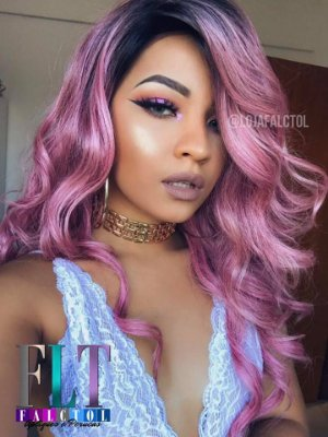 Peruca Lace Front wig cacheada  cabelo humano com fibra futura ombre cor de rosa -  ENCOMENDA