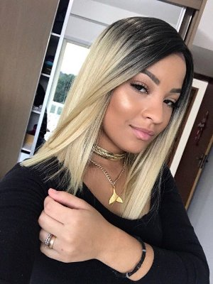 Peruca  Lace front Wig chanel reto - Ombre hair loira - Yara