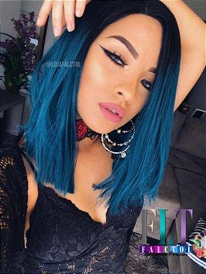 Peruca Lace Front wig Chanel repicado Ombre hair Verde - Yara
