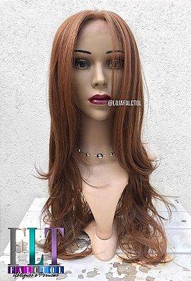Lace Front Wig - MARCELA - Repicado com franja 60cm - Ruivo Natural - Repartição Livre - PRONTA ENTREGA